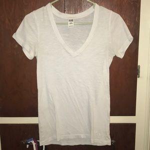 White Victoria's Secret PINK V-Neck Tee Shirt